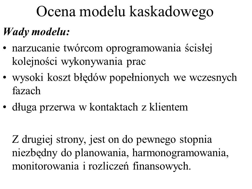 Ocena modelu kaskadowego