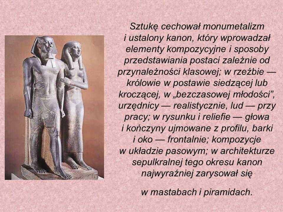"""Sztukę cechował monumetalizm i ustalony kanon, który wprowadzał elementy kompozycyjne i sposoby przedstawiania postaci zależnie od przynależności klasowej; w rzeźbie — królowie w postawie siedzącej lub kroczącej, w """"bezczasowej młodości , urzędnicy — realistycznie, lud — przy pracy; w rysunku i reliefie — głowa i kończyny ujmowane z profilu, barki i oko — frontalnie; kompozycje w układzie pasowym; w architekturze sepulkralnej tego okresu kanon najwyraźniej zarysował się w mastabach i piramidach."""