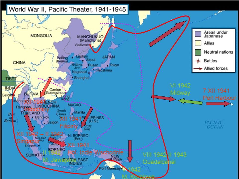 VI 1942 Midway. 7 XII 1941. Perl Harbour. XII 1941. Indochiny. XII 1941. Filipiny. XII 1942 – II 1942.