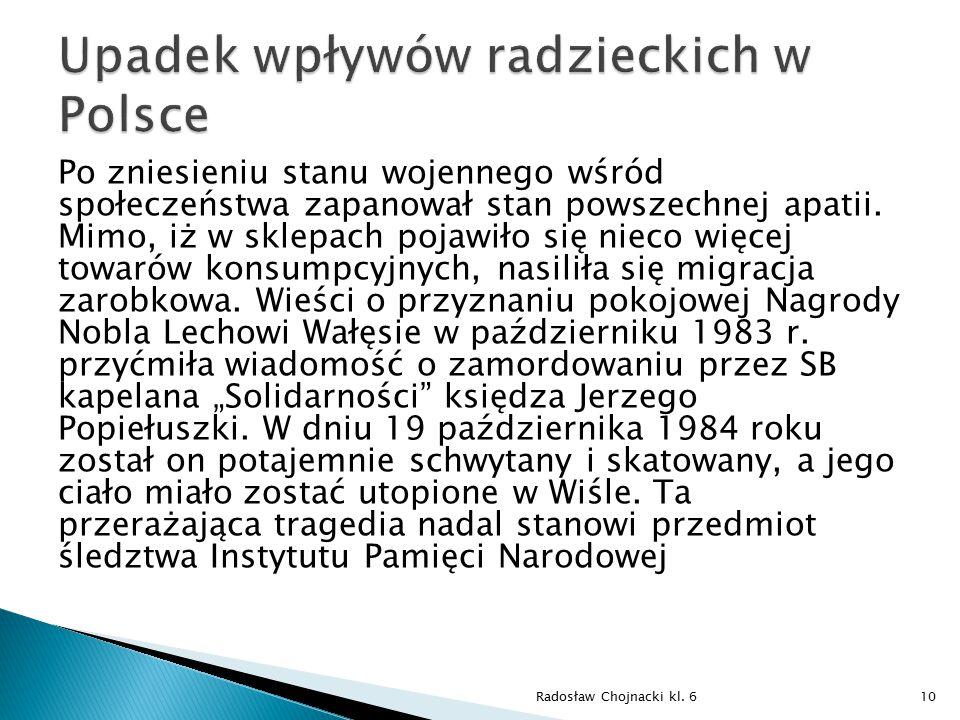 Upadek wpływów radzieckich w Polsce