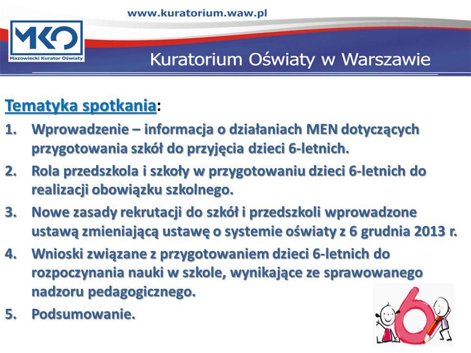 Tematyka spotkania: Wprowadzenie – informacja o działaniach MEN dotyczących przygotowania szkół do przyjęcia dzieci 6-letnich.