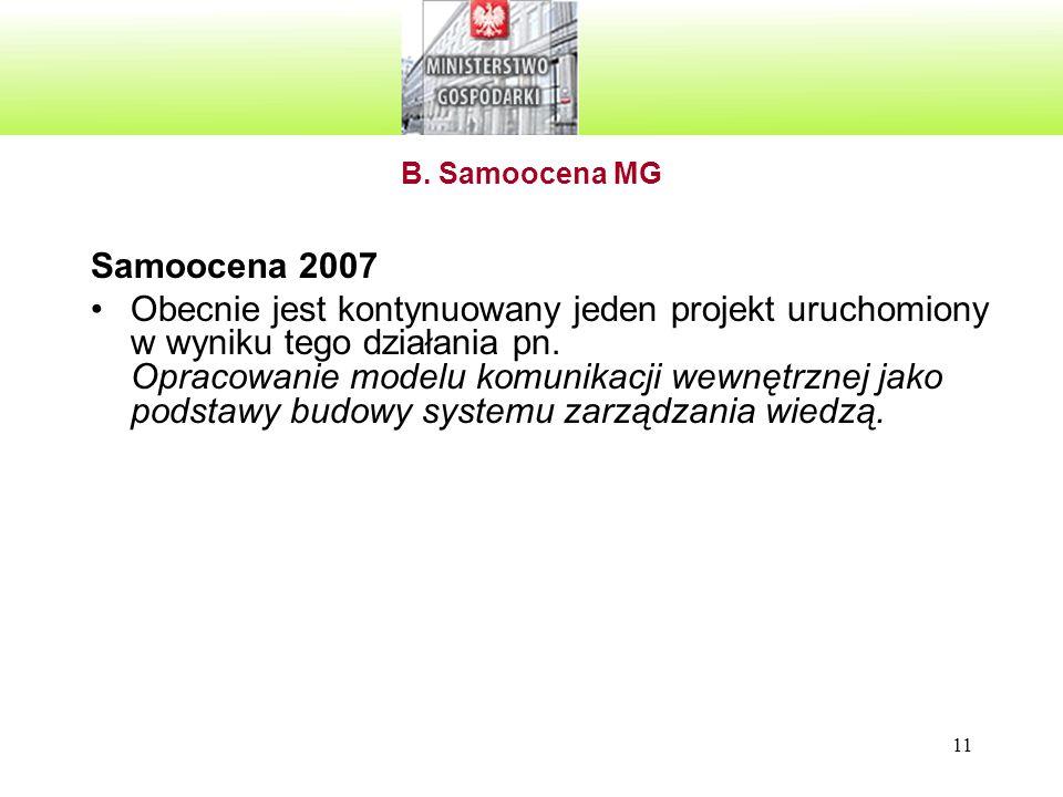 B. Samoocena MG Samoocena 2007.