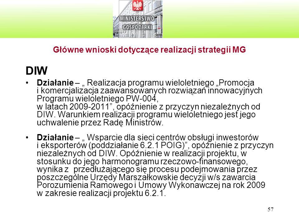 Główne wnioski dotyczące realizacji strategii MG