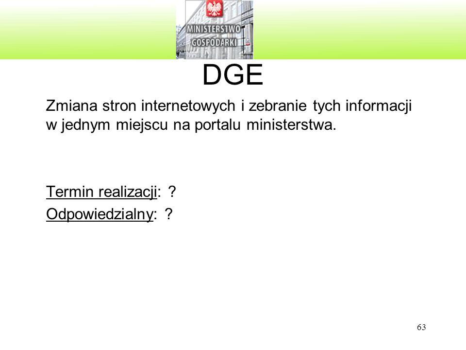 DGE Zmiana stron internetowych i zebranie tych informacji w jednym miejscu na portalu ministerstwa.