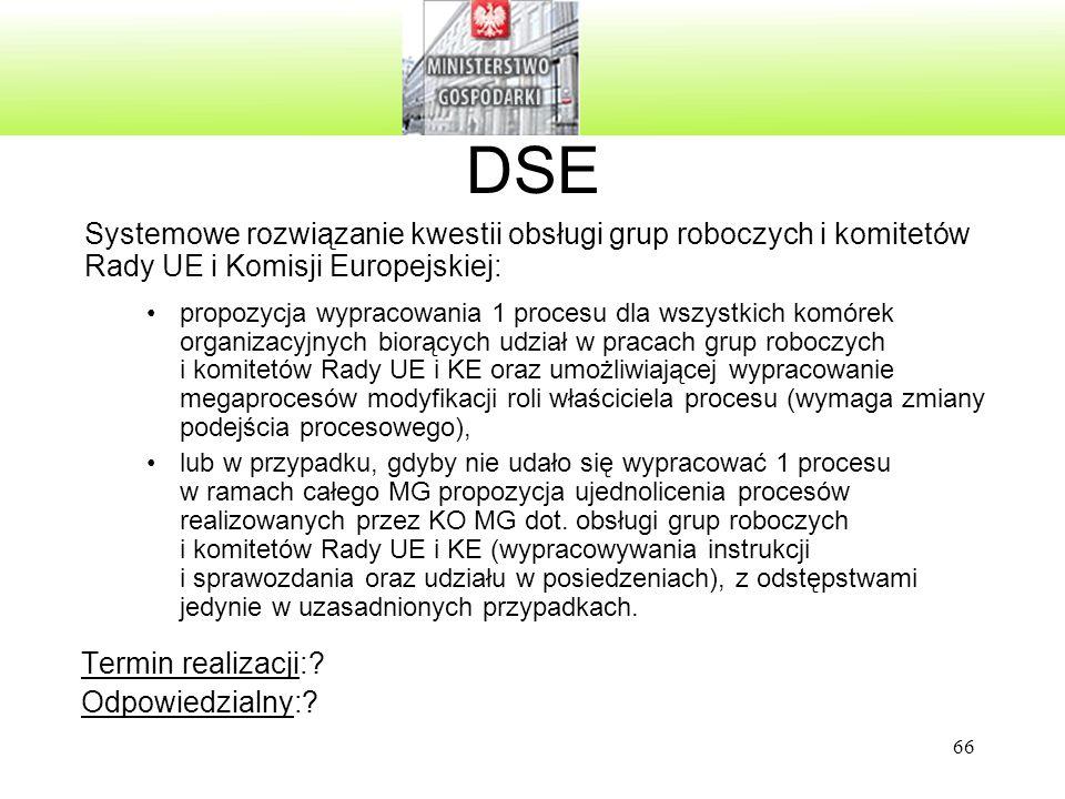 DSE Systemowe rozwiązanie kwestii obsługi grup roboczych i komitetów Rady UE i Komisji Europejskiej: