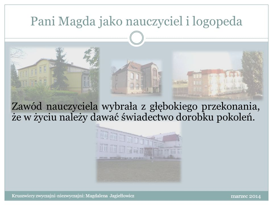 Pani Magda jako nauczyciel i logopeda