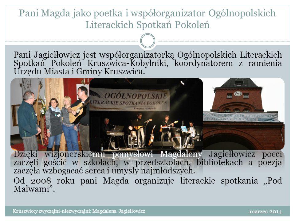 Pani Magda jako poetka i współorganizator Ogólnopolskich Literackich Spotkań Pokoleń