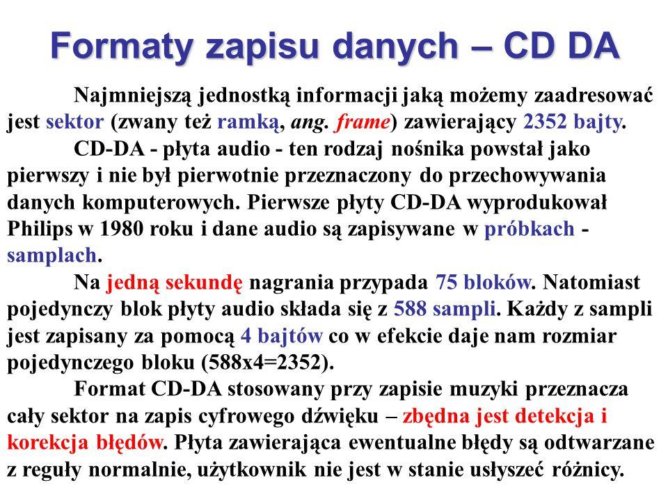 Formaty zapisu danych – CD DA