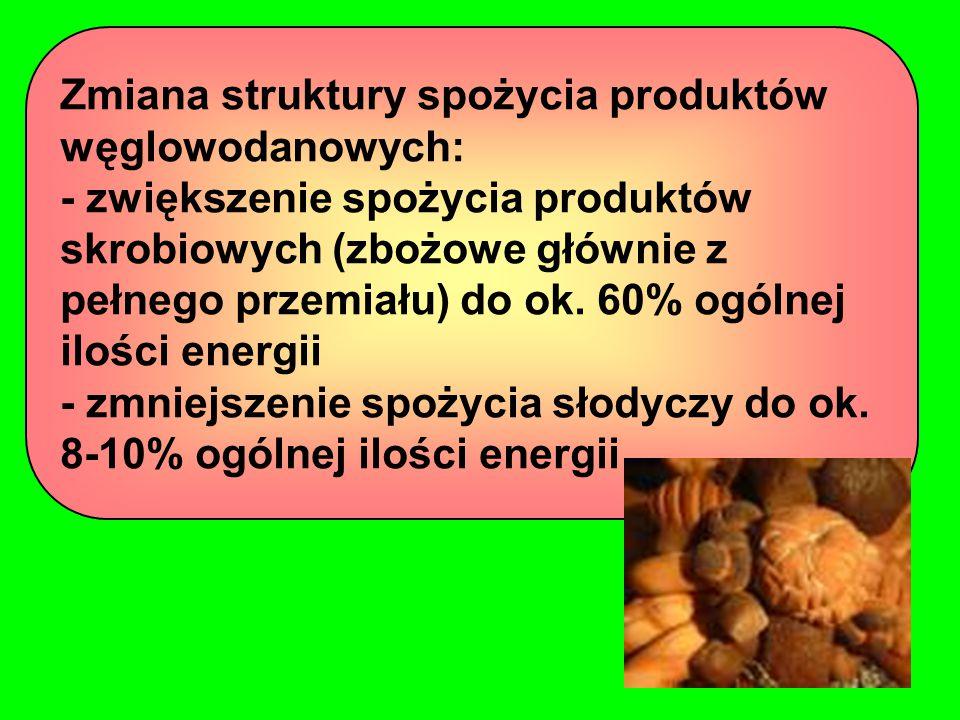 Zmiana struktury spożycia produktów węglowodanowych: - zwiększenie spożycia produktów skrobiowych (zbożowe głównie z pełnego przemiału) do ok.