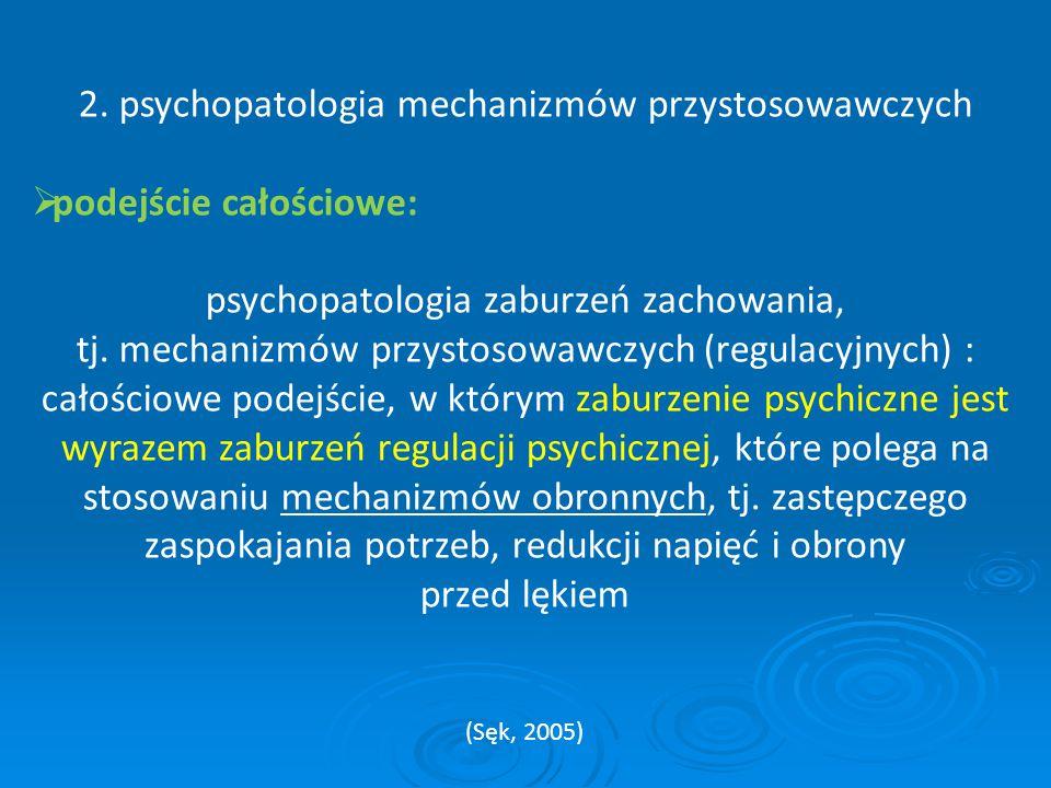 2. psychopatologia mechanizmów przystosowawczych