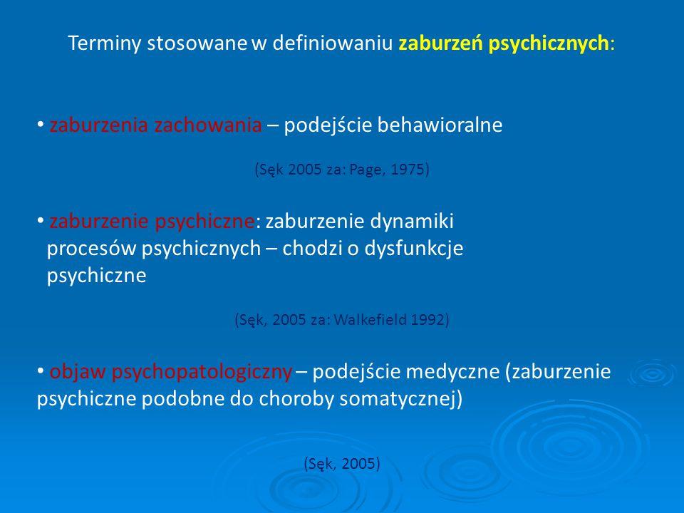 Terminy stosowane w definiowaniu zaburzeń psychicznych: