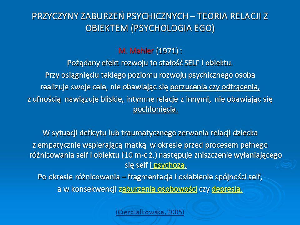 PRZYCZYNY ZABURZEŃ PSYCHICZNYCH – TEORIA RELACJI Z OBIEKTEM (PSYCHOLOGIA EGO)