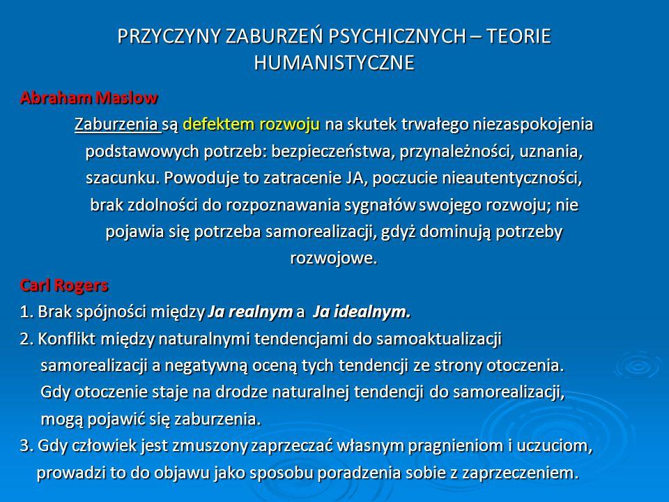 PRZYCZYNY ZABURZEŃ PSYCHICZNYCH – TEORIE HUMANISTYCZNE
