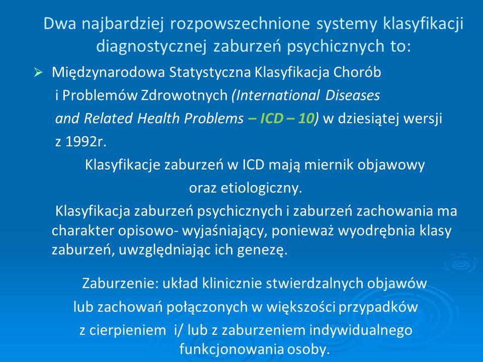 Dwa najbardziej rozpowszechnione systemy klasyfikacji diagnostycznej zaburzeń psychicznych to: