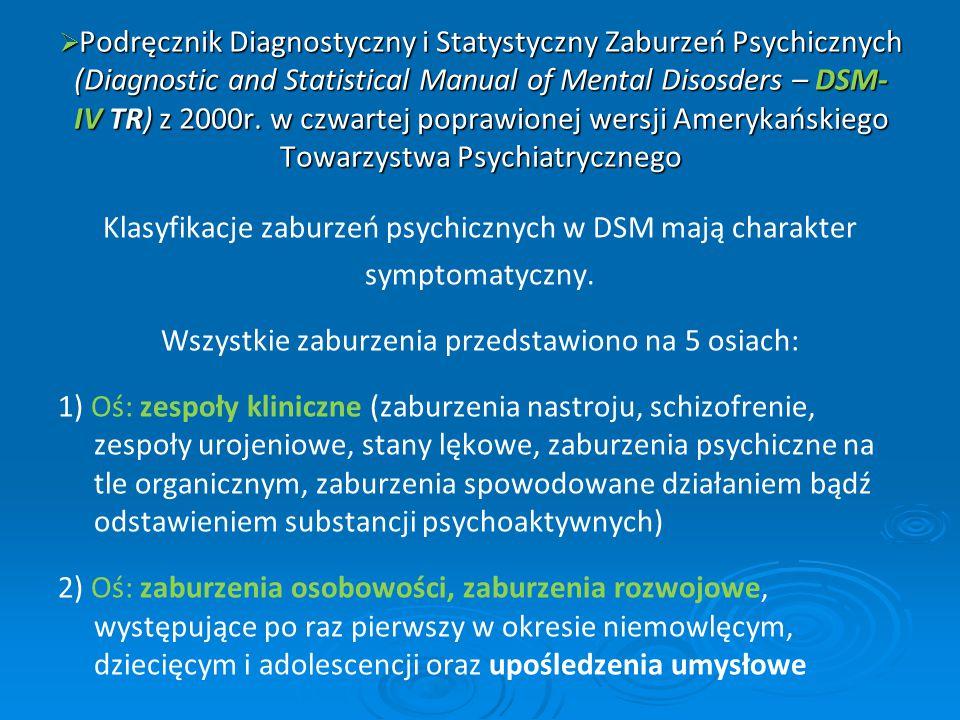 Podręcznik Diagnostyczny i Statystyczny Zaburzeń Psychicznych (Diagnostic and Statistical Manual of Mental Disosders – DSM- IV TR) z 2000r. w czwartej poprawionej wersji Amerykańskiego Towarzystwa Psychiatrycznego