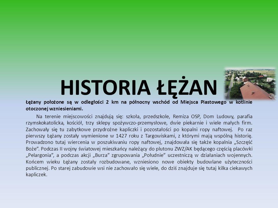 HISTORIA ŁĘŻAN Łężany położone są w odległości 2 km na północny wschód od Miejsca Piastowego w kotlinie otoczonej wzniesieniami.