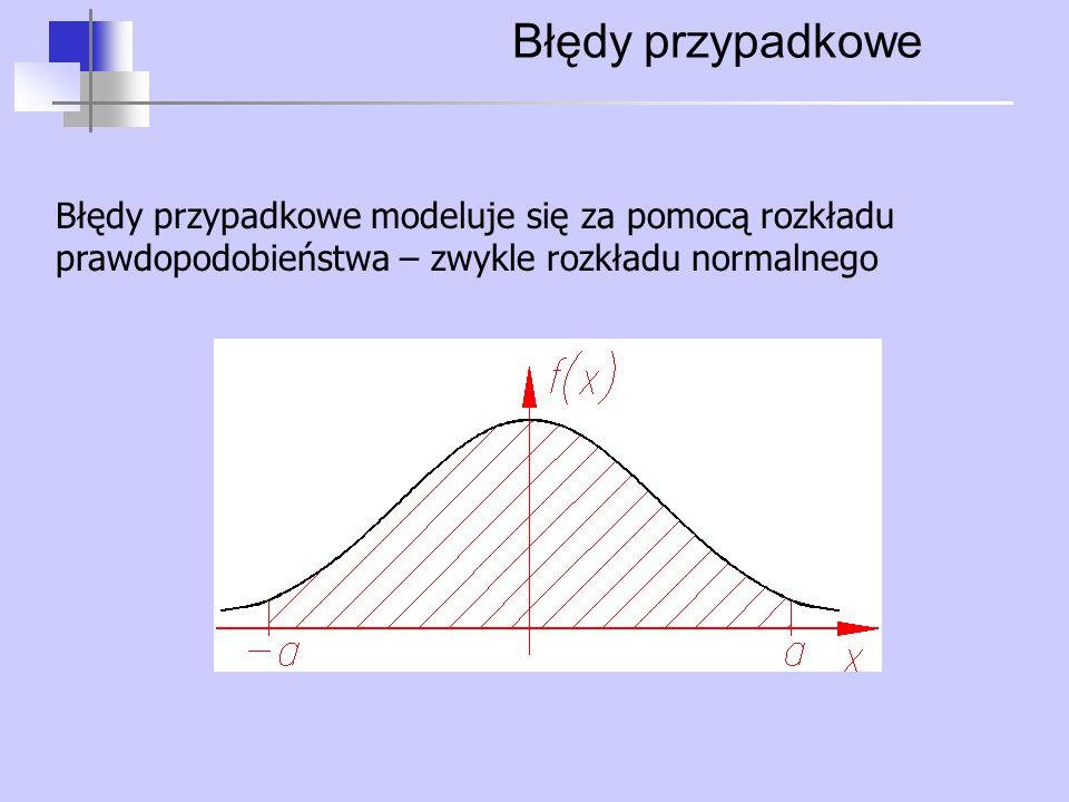 Błędy przypadkowe Błędy przypadkowe modeluje się za pomocą rozkładu prawdopodobieństwa – zwykle rozkładu normalnego.