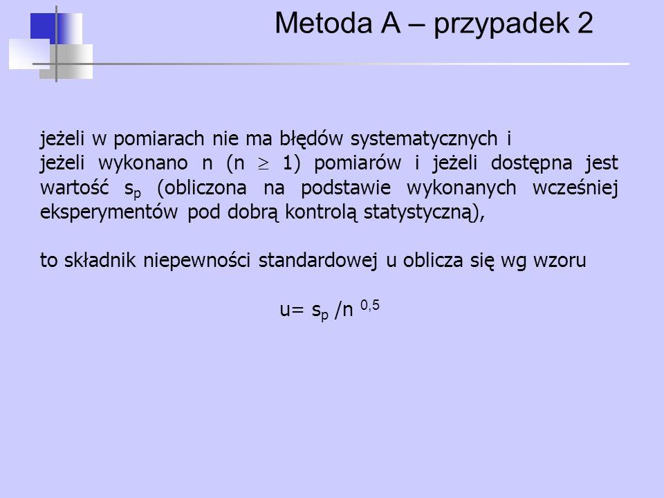 Metoda A – przypadek 2 jeżeli w pomiarach nie ma błędów systematycznych i.