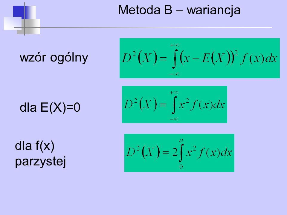 Metoda B – wariancja wzór ogólny dla E(X)=0 dla f(x) parzystej