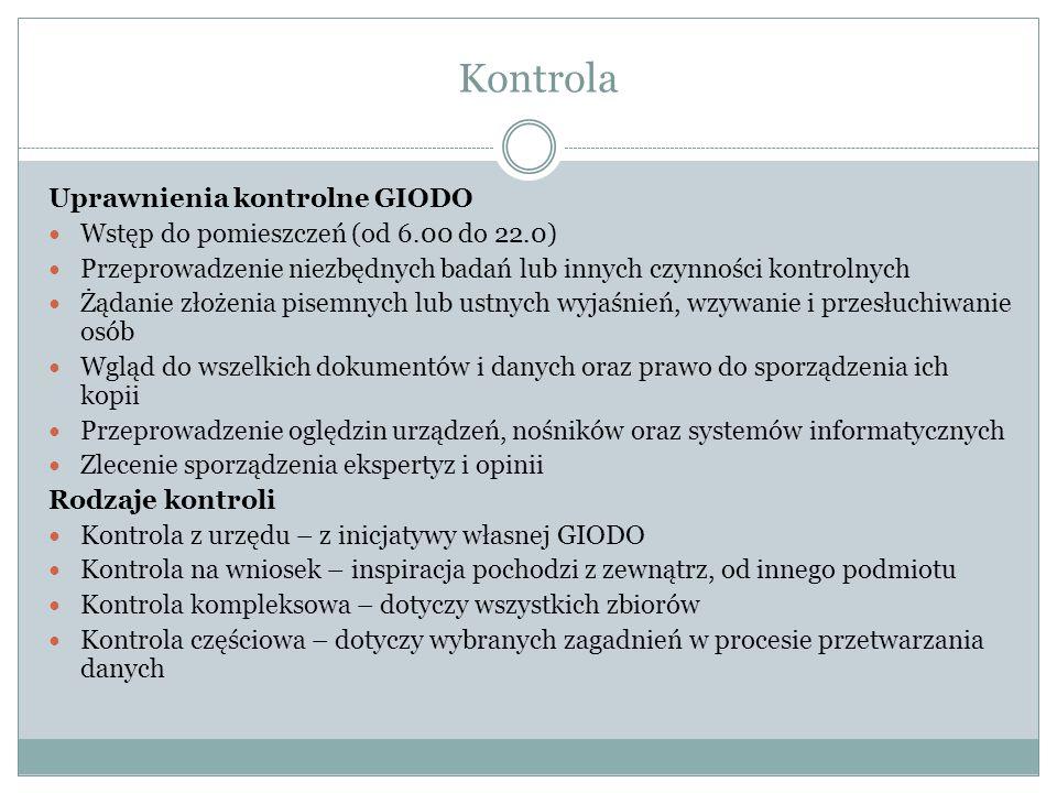 Kontrola Uprawnienia kontrolne GIODO
