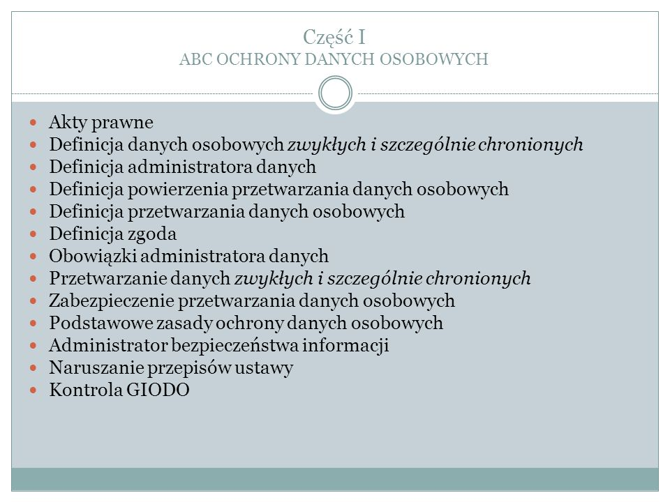 Część I ABC OCHRONY DANYCH OSOBOWYCH