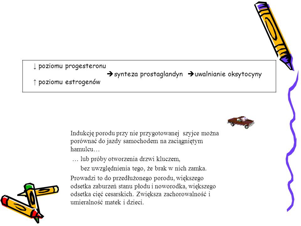 ↓ poziomu progesteronu