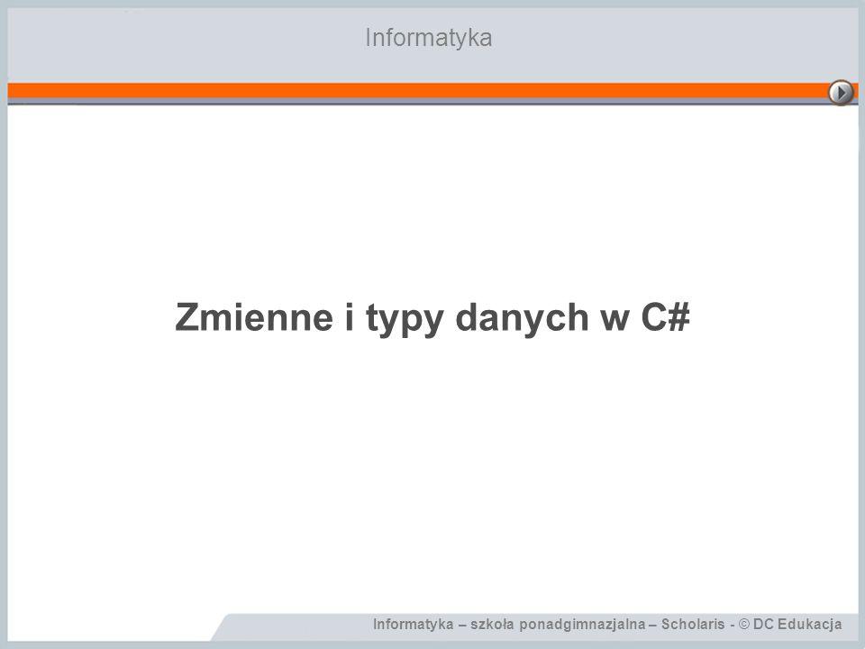 Zmienne i typy danych w C#