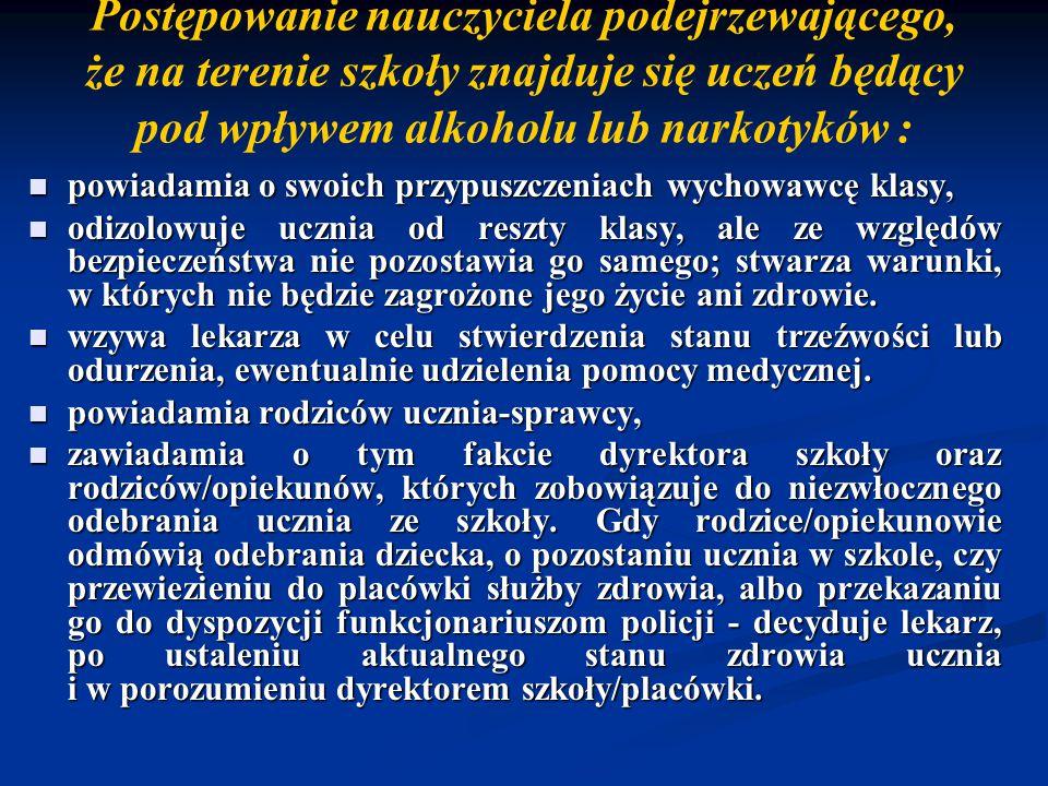 Postępowanie nauczyciela podejrzewającego, że na terenie szkoły znajduje się uczeń będący pod wpływem alkoholu lub narkotyków :