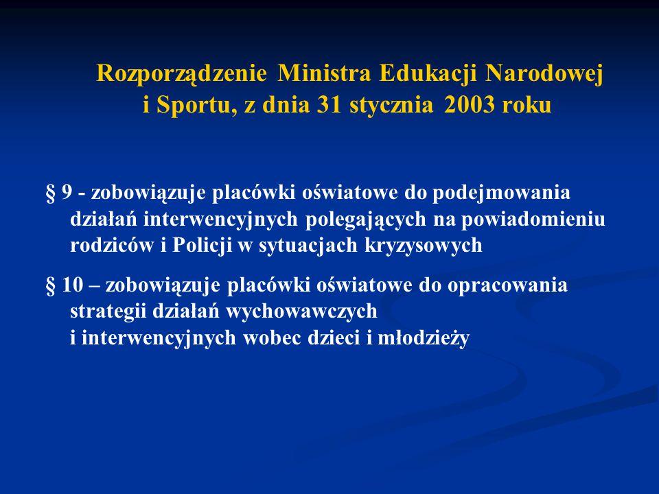 Rozporządzenie Ministra Edukacji Narodowej i Sportu, z dnia 31 stycznia 2003 roku