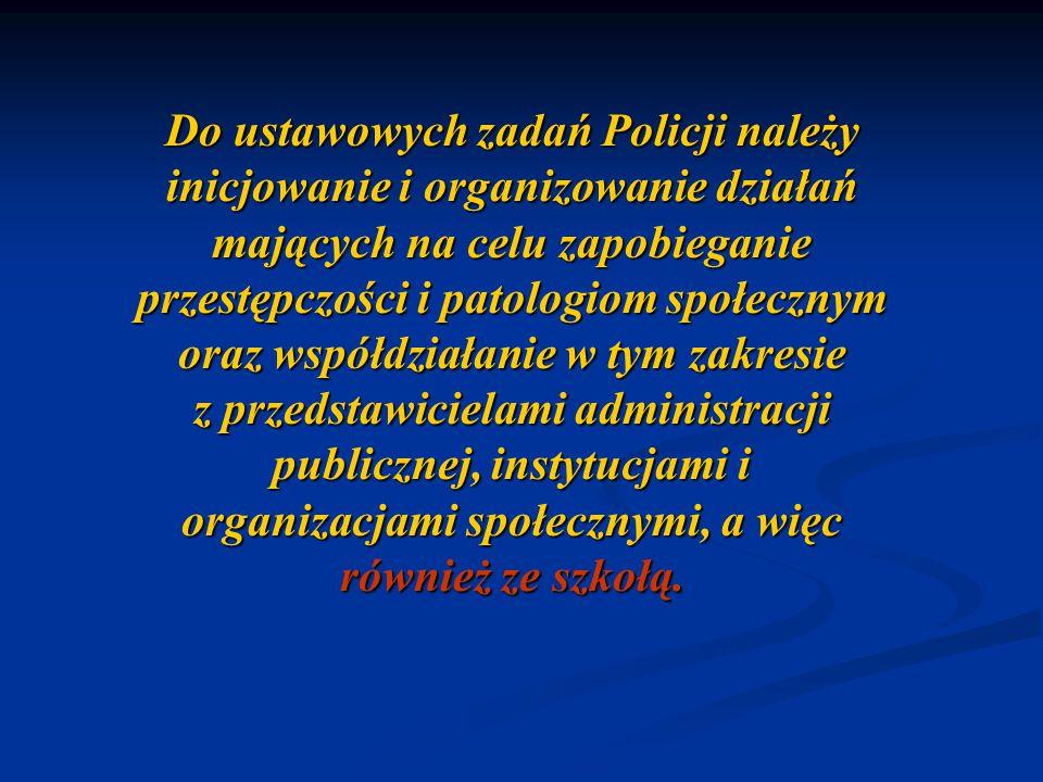 Do ustawowych zadań Policji należy inicjowanie i organizowanie działań mających na celu zapobieganie przestępczości i patologiom społecznym oraz współdziałanie w tym zakresie z przedstawicielami administracji publicznej, instytucjami i organizacjami społecznymi, a więc również ze szkołą.