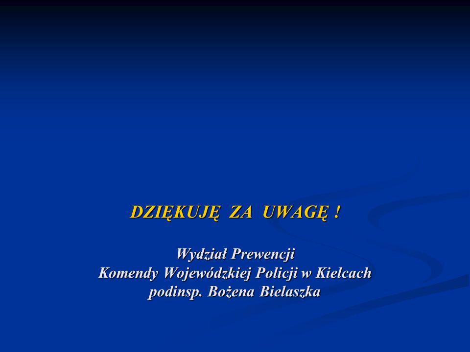 DZIĘKUJĘ ZA UWAGĘ . Wydział Prewencji Komendy Wojewódzkiej Policji w Kielcach podinsp.