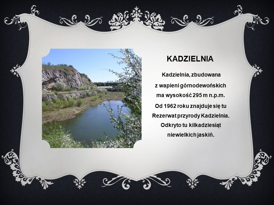 z wapieni górnodewońskich ma wysokość 295 m n.p.m.