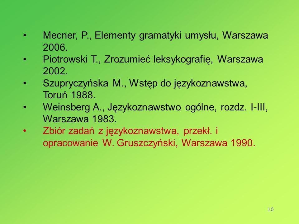 Mecner, P., Elementy gramatyki umysłu, Warszawa 2006.