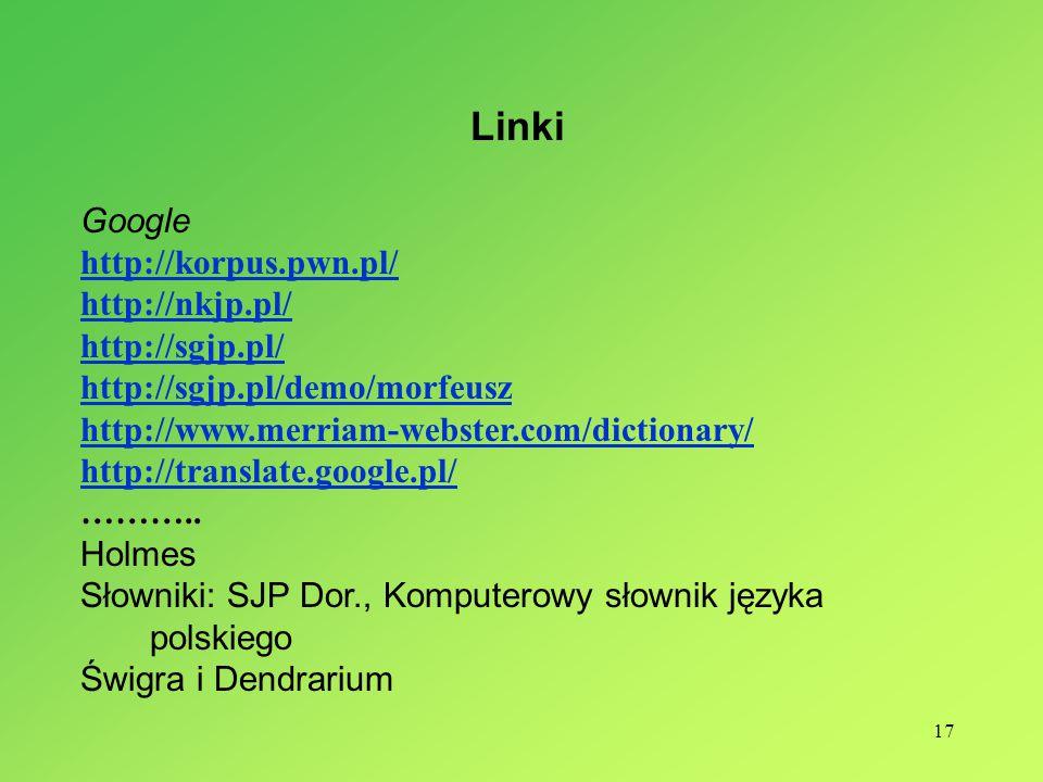 Linki Google http://korpus.pwn.pl/ http://nkjp.pl/ http://sgjp.pl/