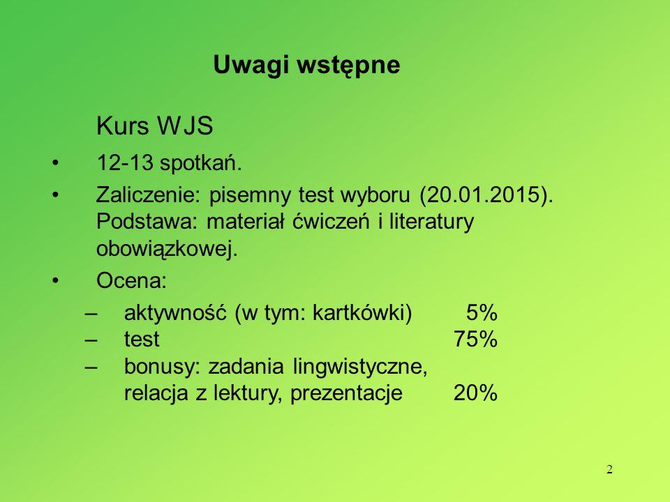 Kurs WJS Uwagi wstępne 12-13 spotkań.