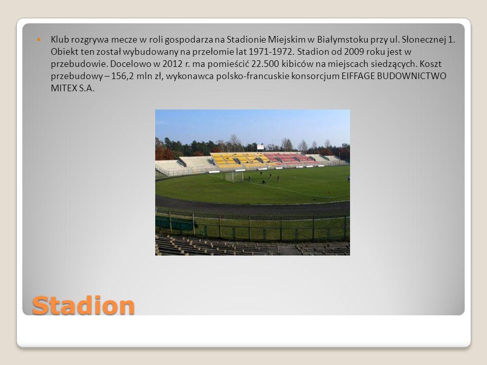 Klub rozgrywa mecze w roli gospodarza na Stadionie Miejskim w Białymstoku przy ul. Słonecznej 1. Obiekt ten został wybudowany na przełomie lat 1971-1972. Stadion od 2009 roku jest w przebudowie. Docelowo w 2012 r. ma pomieścić 22.500 kibiców na miejscach siedzących. Koszt przebudowy – 156,2 mln zł, wykonawca polsko-francuskie konsorcjum EIFFAGE BUDOWNICTWO MITEX S.A.