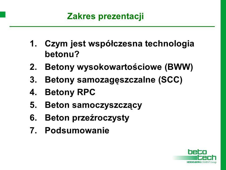Zakres prezentacji Czym jest współczesna technologia betonu Betony wysokowartościowe (BWW) Betony samozagęszczalne (SCC)