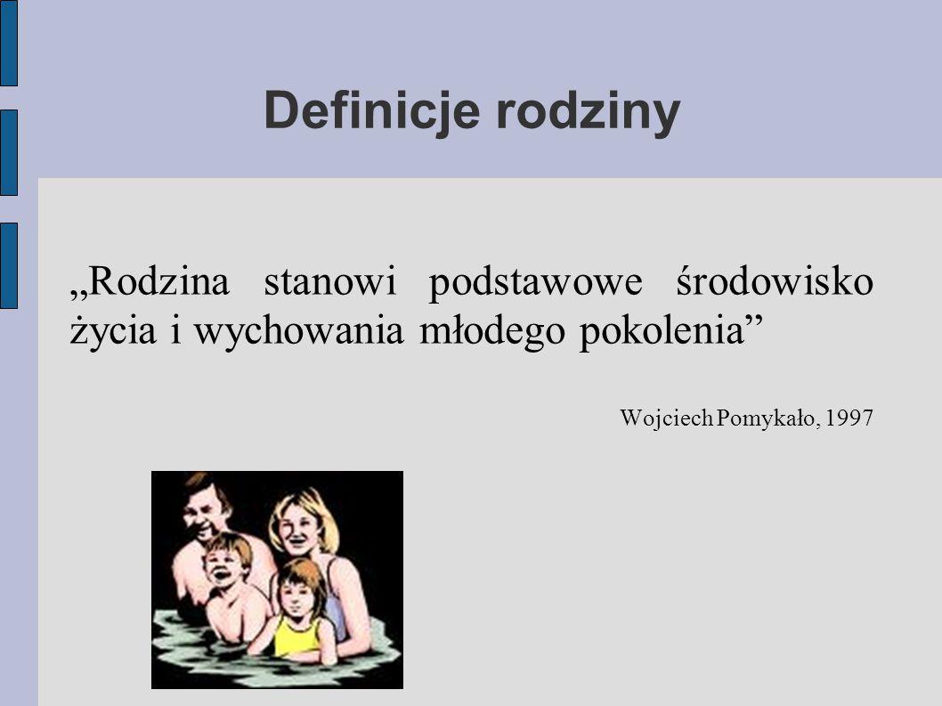 """Definicje rodziny """"Rodzina stanowi podstawowe środowisko życia i wychowania młodego pokolenia Wojciech Pomykało, 1997."""