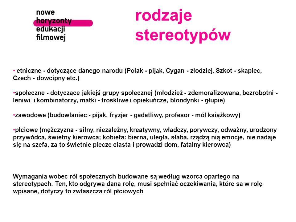 rodzaje stereotypów etniczne - dotyczące danego narodu (Polak - pijak, Cygan - złodziej, Szkot - skąpiec, Czech - dowcipny etc.)