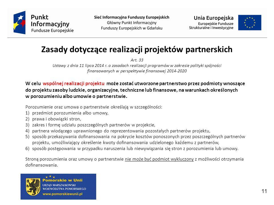 Zasady dotyczące realizacji projektów partnerskich