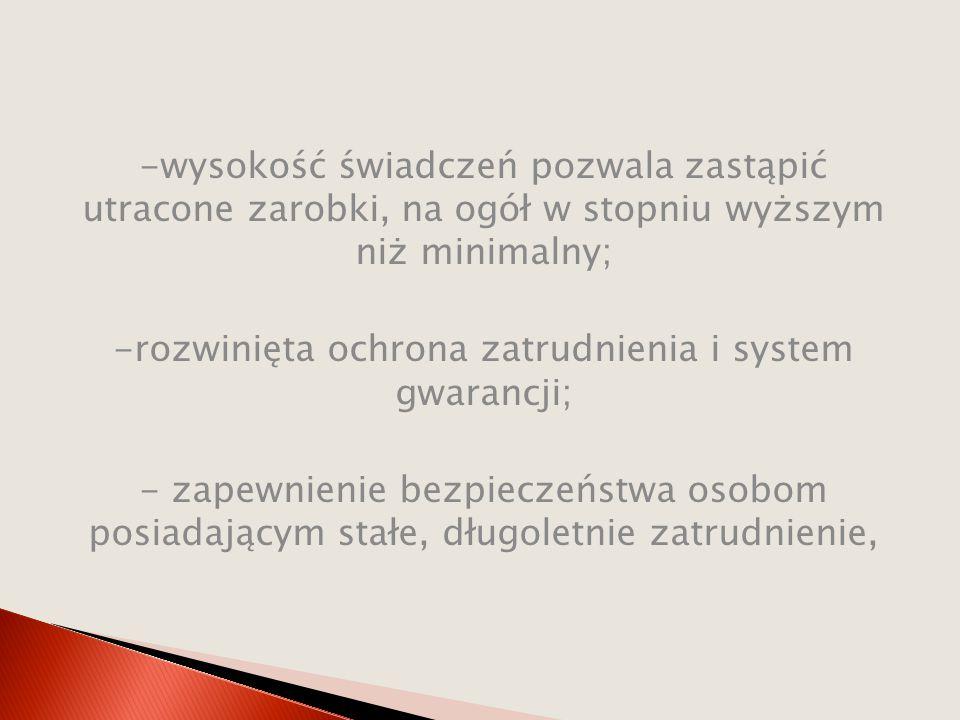 -rozwinięta ochrona zatrudnienia i system gwarancji;