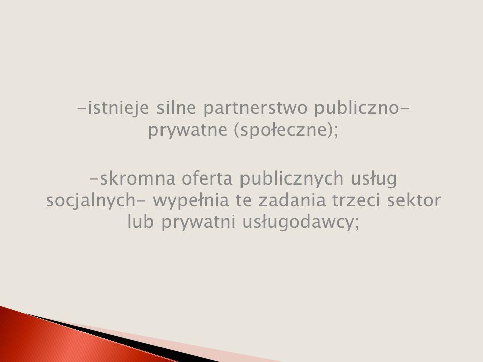 -istnieje silne partnerstwo publiczno- prywatne (społeczne);
