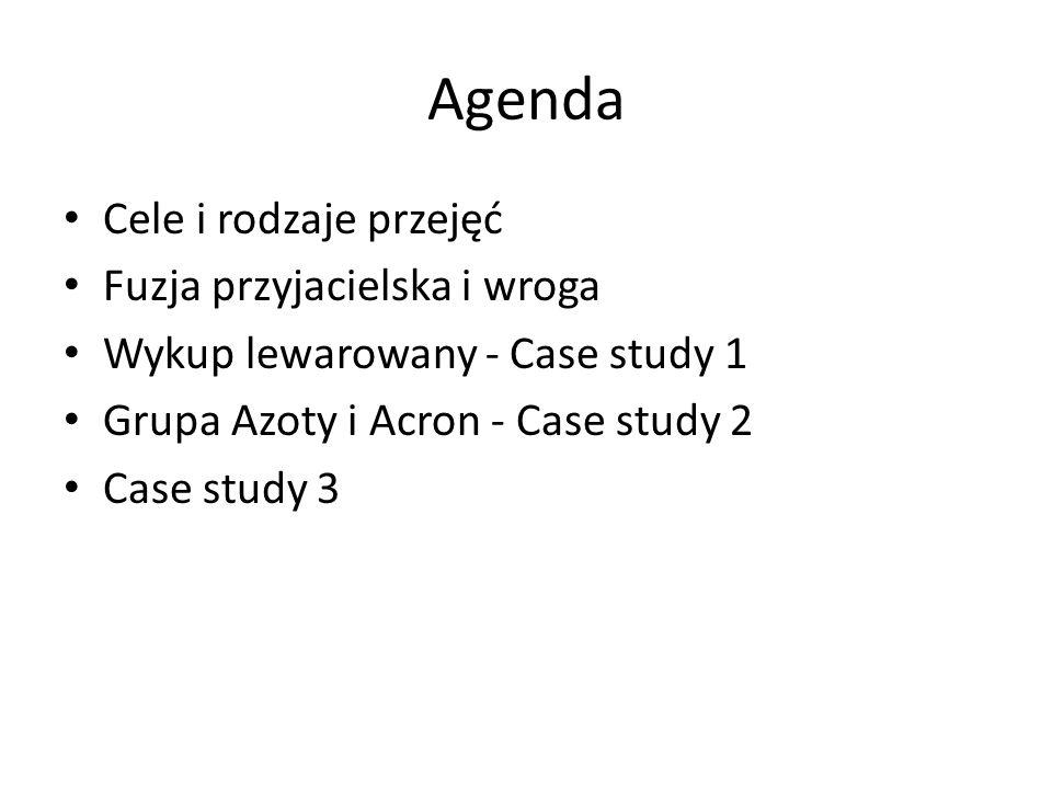Agenda Cele i rodzaje przejęć Fuzja przyjacielska i wroga