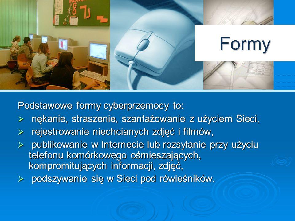 Formy Podstawowe formy cyberprzemocy to:
