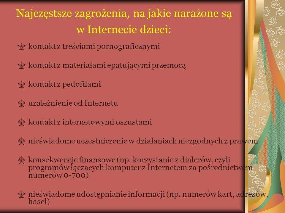 Najczęstsze zagrożenia, na jakie narażone są w Internecie dzieci: