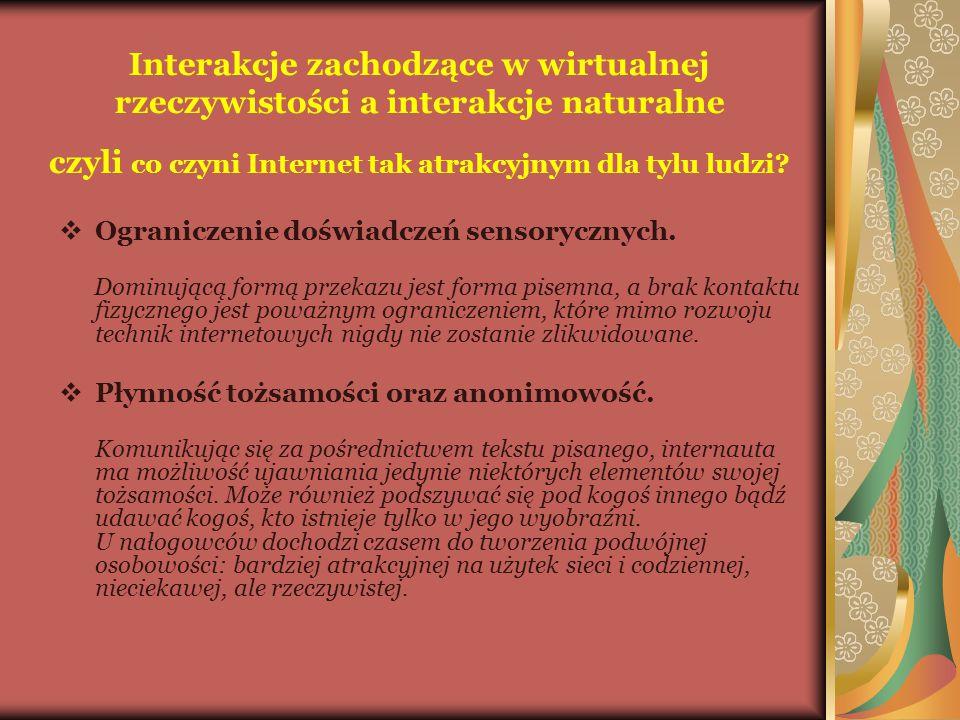 Interakcje zachodzące w wirtualnej rzeczywistości a interakcje naturalne czyli co czyni Internet tak atrakcyjnym dla tylu ludzi