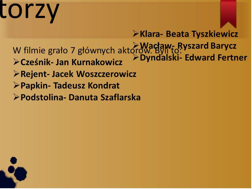 Aktorzy Klara- Beata Tyszkiewicz Wacław- Ryszard Barycz