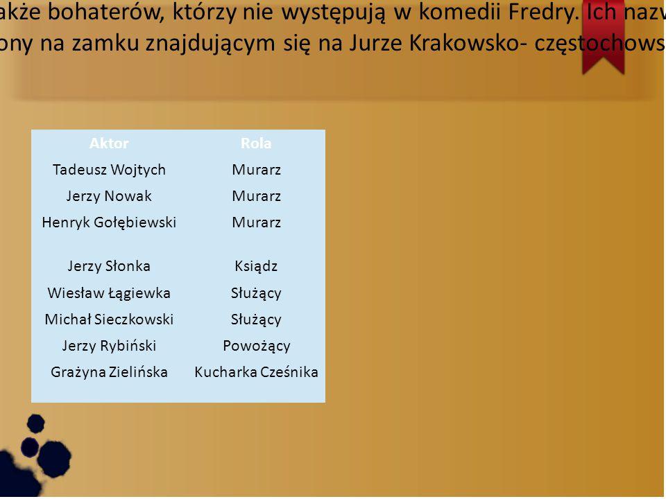 Wajda do swojego filmu wprowadził także bohaterów, którzy nie występują w komedii Fredry. Ich nazwiska oraz role umieszczone są w tabeli.
