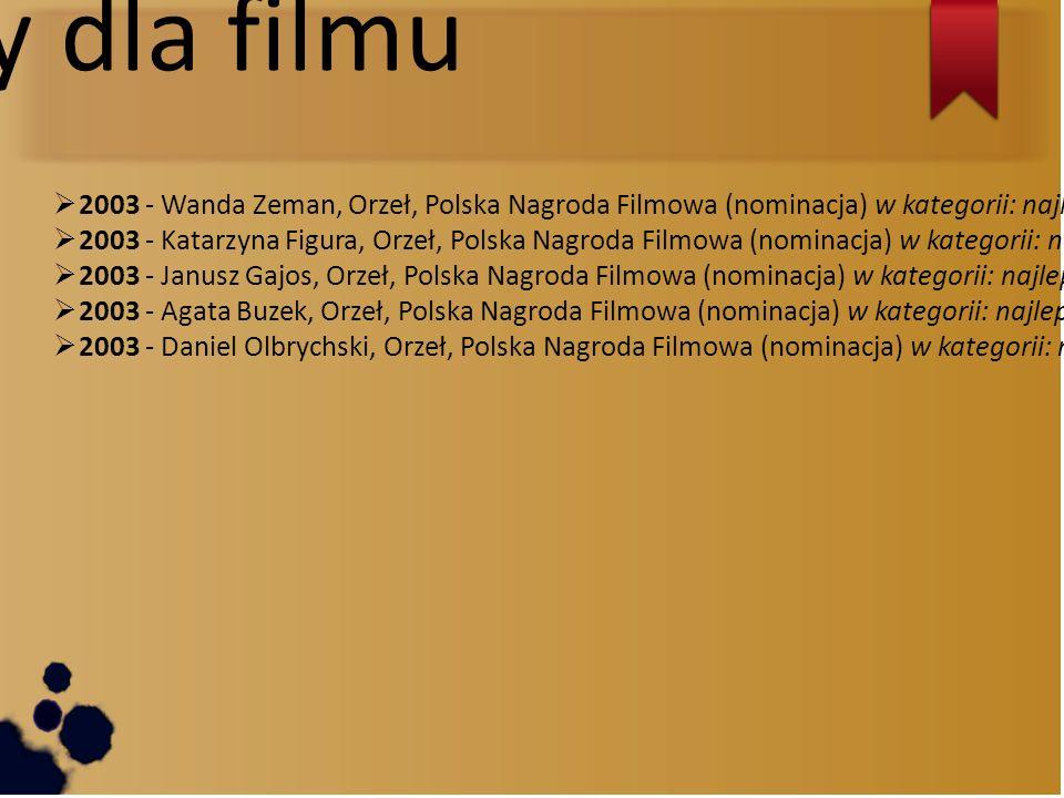 Nagrody dla filmu 2003 - Wanda Zeman, Orzeł, Polska Nagroda Filmowa (nominacja) w kategorii: najlepszy montaż.