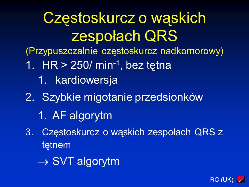 Częstoskurcz o wąskich zespołach QRS (Przypuszczalnie częstoskurcz nadkomorowy)